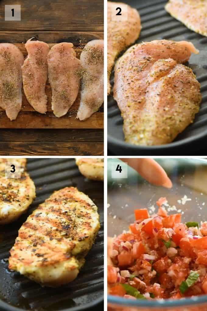 grilled bruschetta chicken Collage