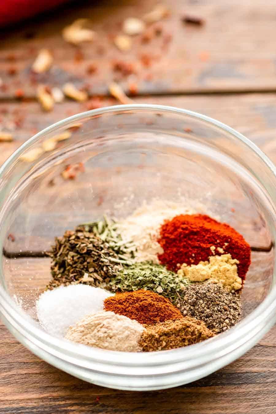 Ingredients of Chicken Seasoning unmixed in bowl