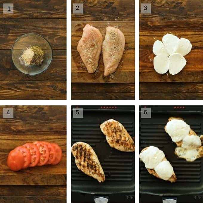 Collage of step by step photos to make chicken caprese