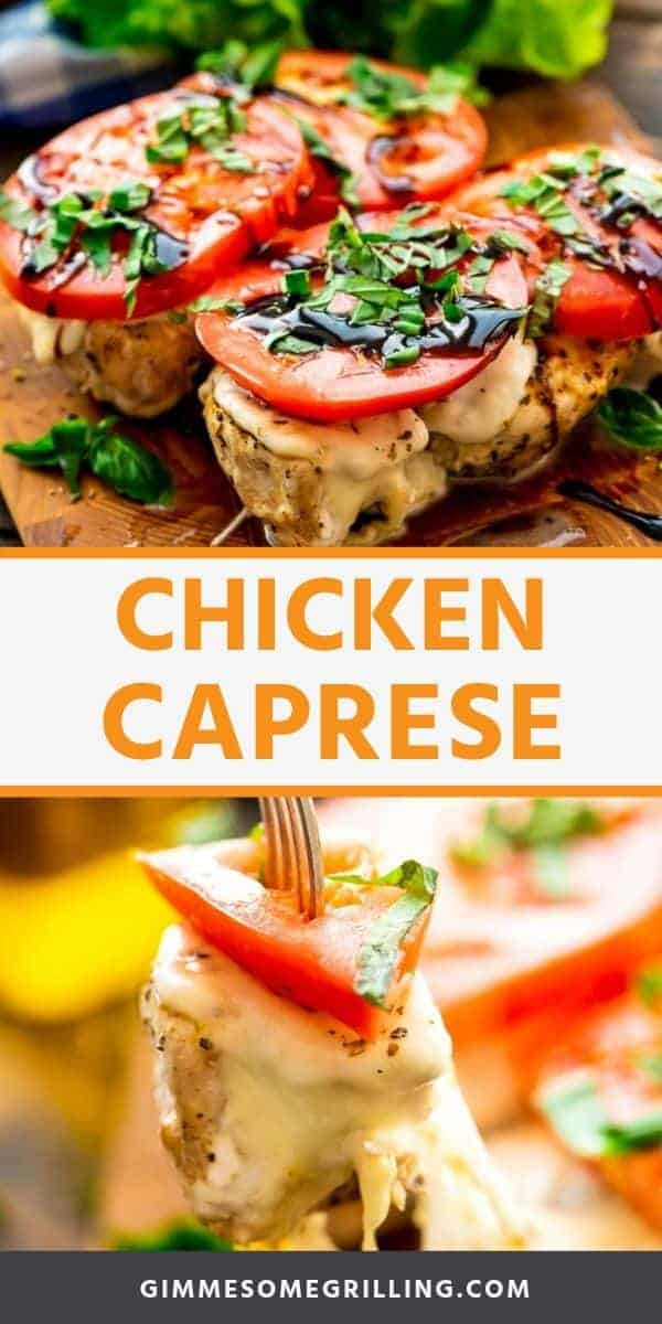 Chicken Caprese is a delicious, healthy dinner recipe bursting with flavor. Grilled Chicken Breast that's seasoned then topped with fresh mozzarella, a slice of ripe tomato, basil and balsamic reduction. It can be made on a gas grill or on the stove top with a grill pan for a quick and easy dinner recipe! #chicken #caprese via @gimmesomegrilling