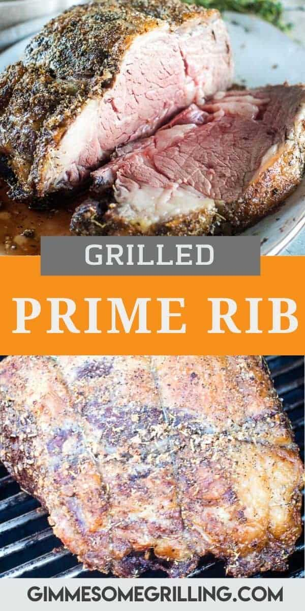 A perfectly seasoned and grilled Prime Rib is what your holiday meal needs! This recipe uses a simple seasoning mix on this delicious cut of beef. After seasoning it place it on the grill at a low temperature to start. At the end we turn up the heat to get a perfect crust on your Prime Rib. So much flavor! #primerib #recipe via @gimmesomegrilling