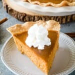 Slice of Pumpkin Pie on plate