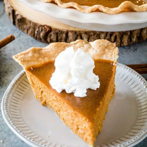 Slice of Pumpkin Pie on plate