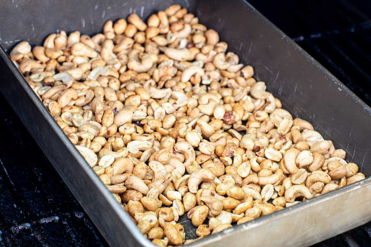 Nuts in a pan on smoker
