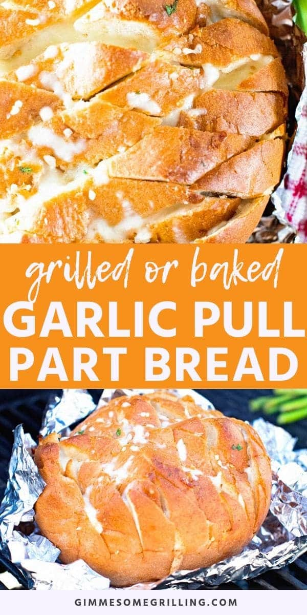 """Garlic Pull Apart Bread is a hearty sourdough bread stuffed with melted Mozzarella Bread, Garlic and can be baked or made on your grill! It's also known as """"Crack Bread"""". Once you start you can't stop eating this! Make this cheesy garlic bread recipe today. #garlic #bread via @gimmesomegrilling"""