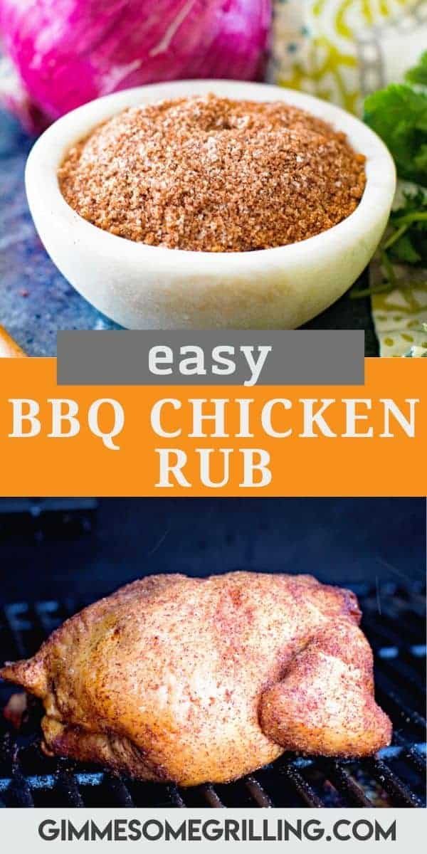 Delicious Homemade BBQ Chicken Rub featuring a mix of sugar, salt, chili powder, smoked paprika, garlic powder, onion powder and ground oregano for a flavorful homemade spice rub! It's perfect for your grilled chicken or smoked chicken. Rub it on your chicken legs, whole chicken, chicken breasts and more to give it the best flavor ever. #chicken #rub via @gimmesomegrilling