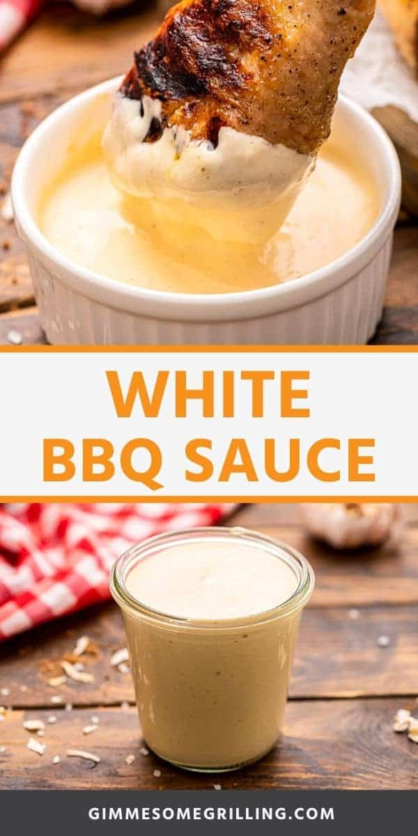Mix up your BBQ Sauce with this easy, tangy White BBQ Sauce that hails from Alabama. It's base is mayonnaise with horseradish, Worcestershire sauce, brown mustard and more to give it a rich, flavor. It's nice and thick to put on all your grilled and smoked chicken! #white #bbqsauce via @gimmesomegrilling