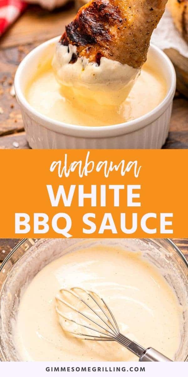 Have you heard of Alabama White BBQ Sauce? It's a thick, tangy sauce that starts with mayonnaise. It's perfect for slathering on all your grilled or smoked chicken. You can even use it as a dip for your vegetables. Mix up a batch of this bbq sauce today! #bbq #sauce via @gimmesomegrilling