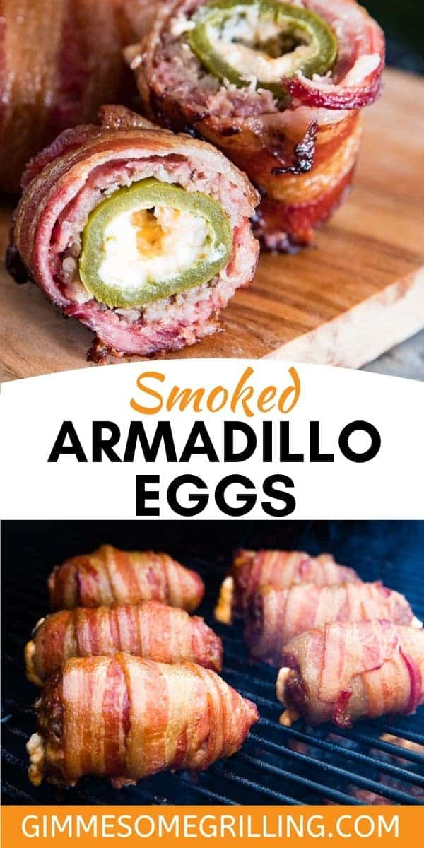 Armadillo Eggs on your smoker are easy to make and so flavorful from the jalapeno stuffed with cream cheese in the center and then wrapped with sausage on the exterior and bacon. You can serve this easy Traeger recipe for an appetizer or dinner! #smoker #recipe via @gimmesomegrilling