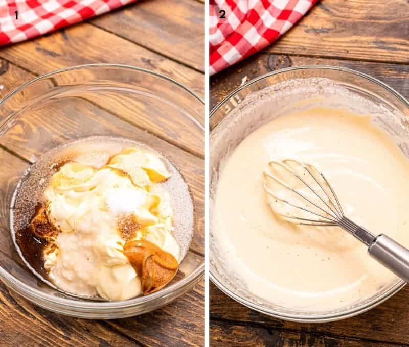 Collage of two images showing a bowl with ingredients in and then mixed up