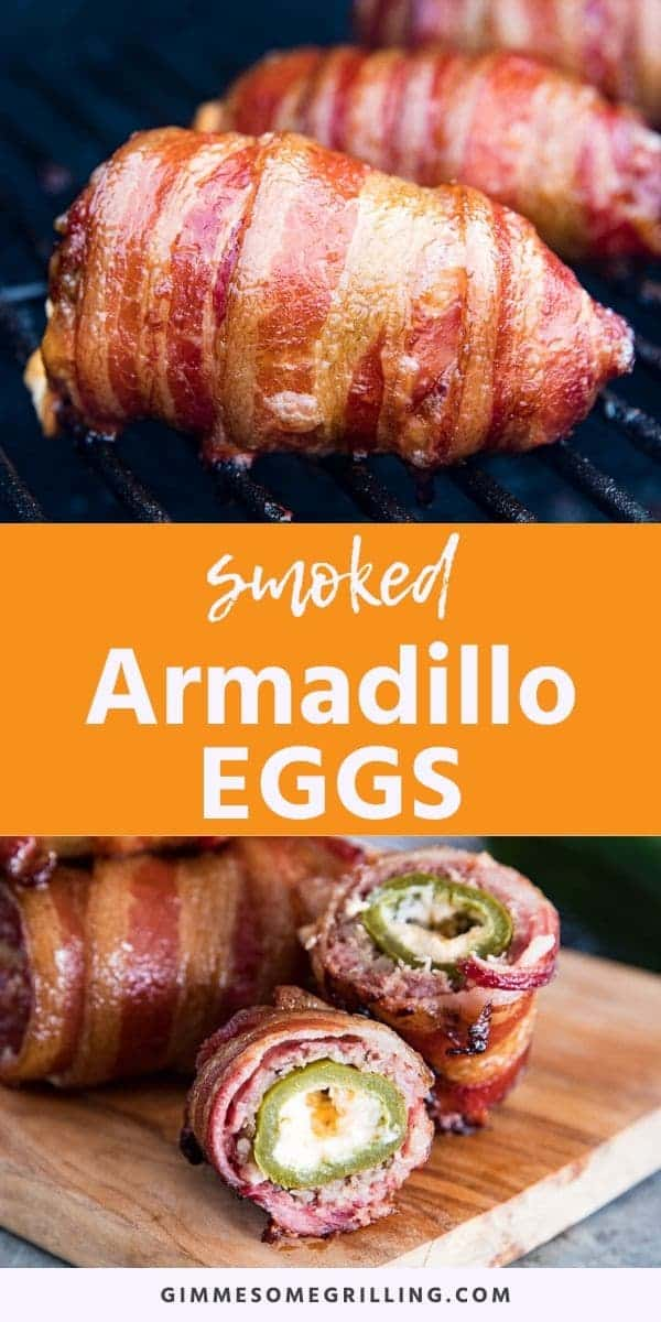 Smoked Armadillo Eggs are a fun twist on jalapeno poppers with a layer of ground sausage and then bacon on the outside. The perfect smoked appetizer. #smoker #recipe via @gimmesomegrilling