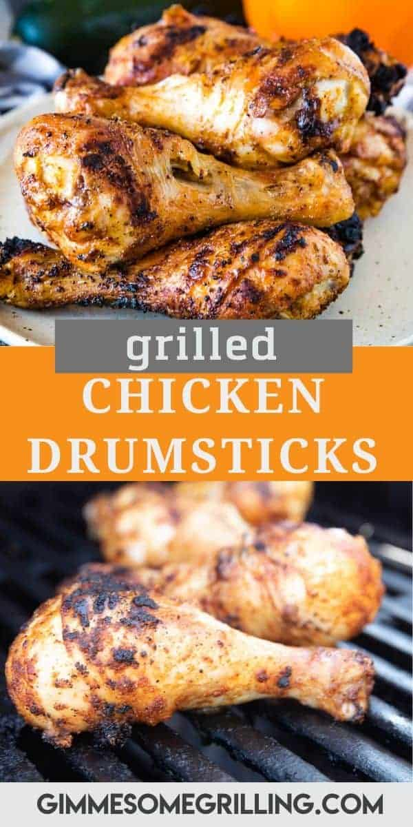 Crispy grilled chicken legs with a quick and easy seasoning are the ultimate summer dinner recipe! These are so juicy and tender and easy to make. Off the grill in 30 minutes! #chicken #drumsticks via @gimmesomegrilling