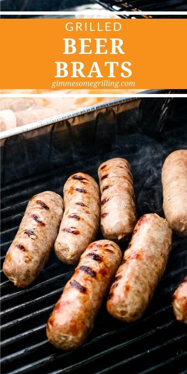 Beer Brats are easy to make with only three ingredients including beer, onions and brats. Simmer the brats in the beer and onions directly on the grill then finish them by grilling the brats to crisp them up. Serve it with your favorite toppings for an easy summer dinner recipe or idea for a party! #brats #recipe via @gimmesomegrilling