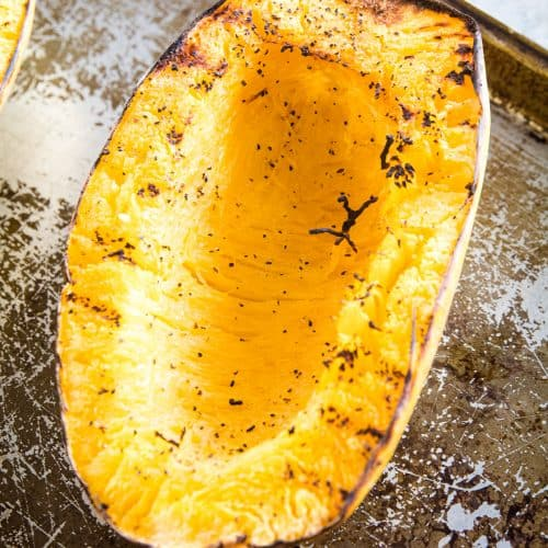 Spaghetti Squash on sheet pan with char marks