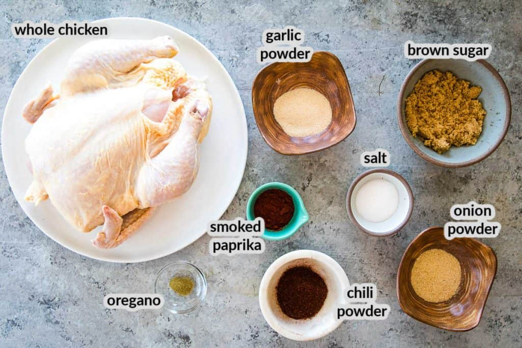 Overhead image showing ingredients for Smoked Beer Can Chicken