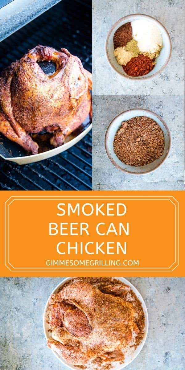 Smoked Beer Can Chicken is the perfect meal for the summer. Season your whole chicken, place it over a beer can half full and then let it smoke for a few hours. The result is a tender, juicy chicken bursting with flavor. #whole #chicken via @gimmesomegrilling