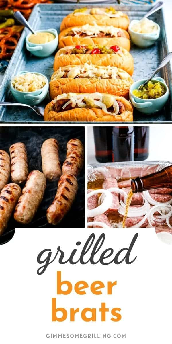 Three ingredients Beer Brats are the perfect entertaining recipe for summer backyard parties or an easy dinner recipe. Fresh bratwursts cooked in beer and onions then grill. Top them with your favorite toppings! #grilling #recipe via @gimmesomegrilling