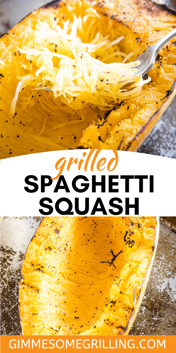 Healthy and easy Grilled Spaghetti Squash is the perfect summer side dish recipe on your grill! It's quick and easy to make. It's low carb and the kids love it! #recipe #grilling via @gimmesomegrilling