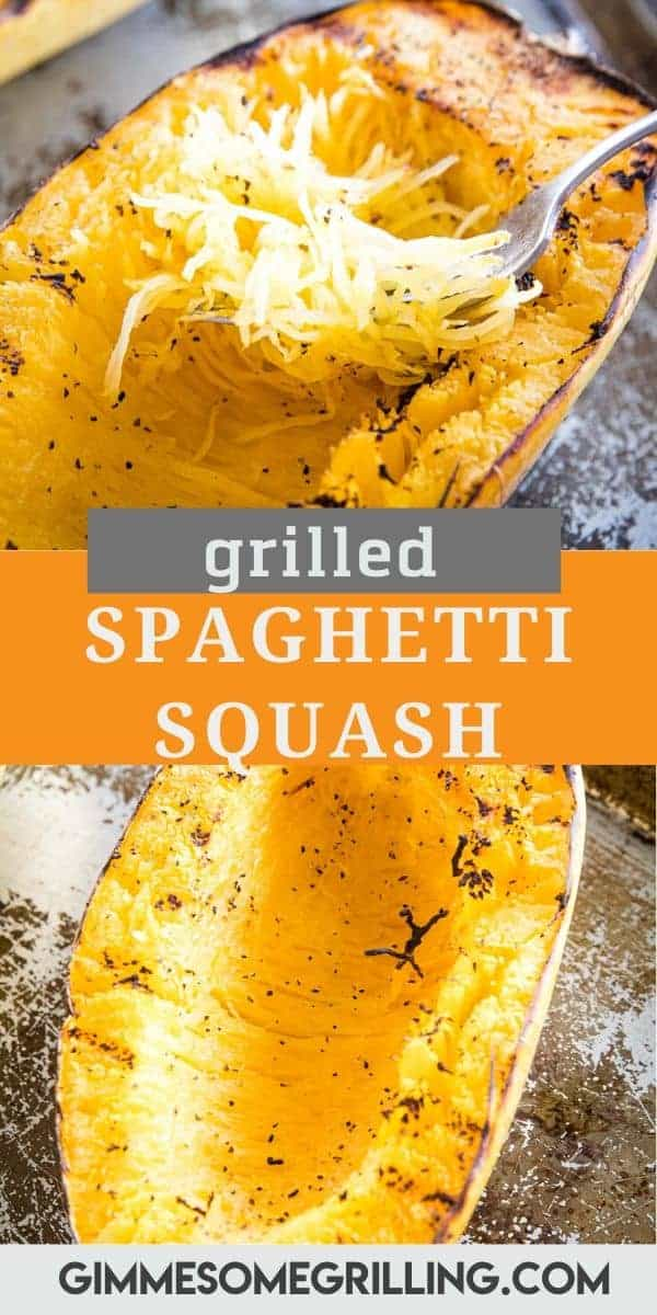 Looking for an easy side dish that's healthy during grilling season? This Grilled Spaghetti Squash only requires a few ingredients and is delicious. A low carb favorite that can be made without heating up the kitchen. The char on it gives it so much flavor! #spaghetti #squash via @gimmesomegrilling