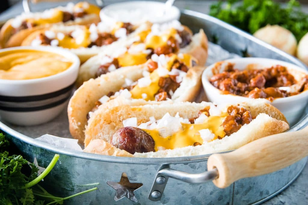 Chili Cheese Brats in serving tray