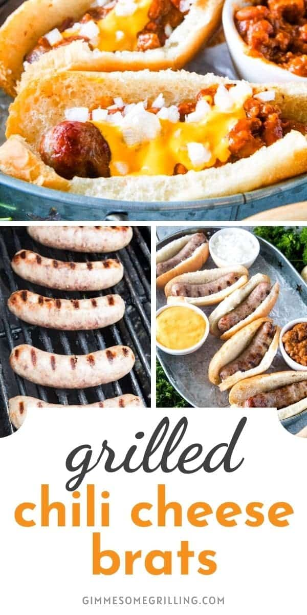 Grilled Chili Cheese Brats are a quick and easy meal to serve at a backyard BBQ, potluck, tailgating or for a family dinner. Grill your brats then serve them with chili, nacho cheese and diced onion! #brats #recipe via @gimmesomegrilling