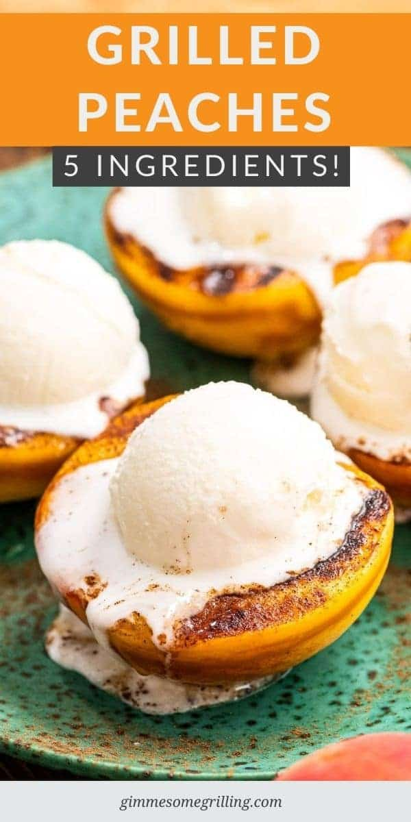 If you are looking for an easy summer dessert on your grill make these grilled peaches! Juicy peaches that are grilled then topped with cinnamon, honey and ice cream. They only take 5 ingredients and 20 minutes to make! #grilled #recipe via @gimmesomegrilling