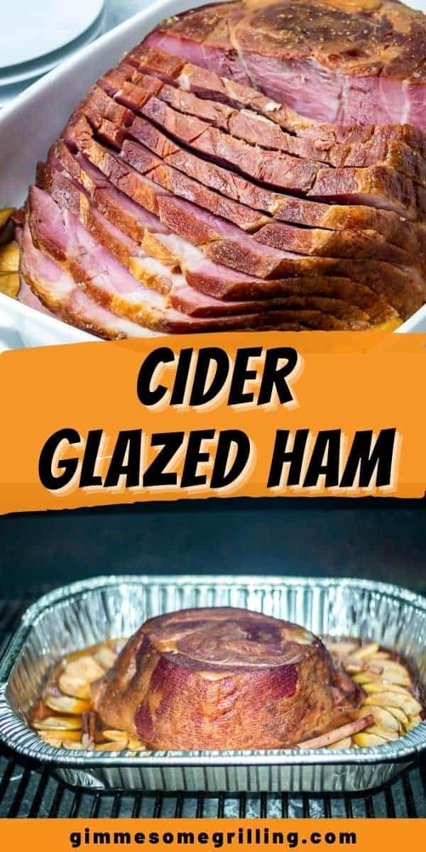 Cider Glazed Ham is an amazing juicy ham recipe that's perfect for holiday dinners. The ham can be smoked or baked in the oven. It's brushed with a cider glaze at the end for the perfect sweet, sticky finish. Everyone will want seconds of this easy ham recipe! #ham #recipe via @gimmesomegrilling