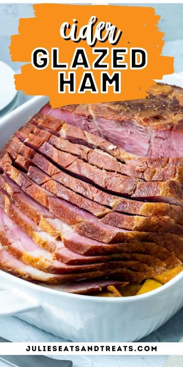 Cider Glazed Ham can be prepared on your smoker or baked in the oven. A sweet cider glaze is the perfect sticky finish to the juicy ham. It's perfect for your holiday dinner. #ham #glazed via @gimmesomegrilling