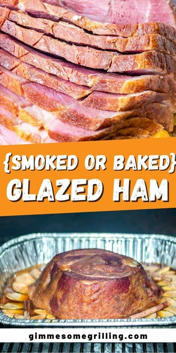 Juicy, double smoked ham with a cider glaze on it makes this easy ham recipe ideal for entertaining guests especially at the holidays. This Glazed Ham easy, delicious and always a show stopper with its glaze spiced with cinnamon and ginger that's perfectly sweet from the molasses. Smoked it in your electric smoked or baked it in the oven, either way it's delicious. #glazed #ham via @gimmesomegrilling