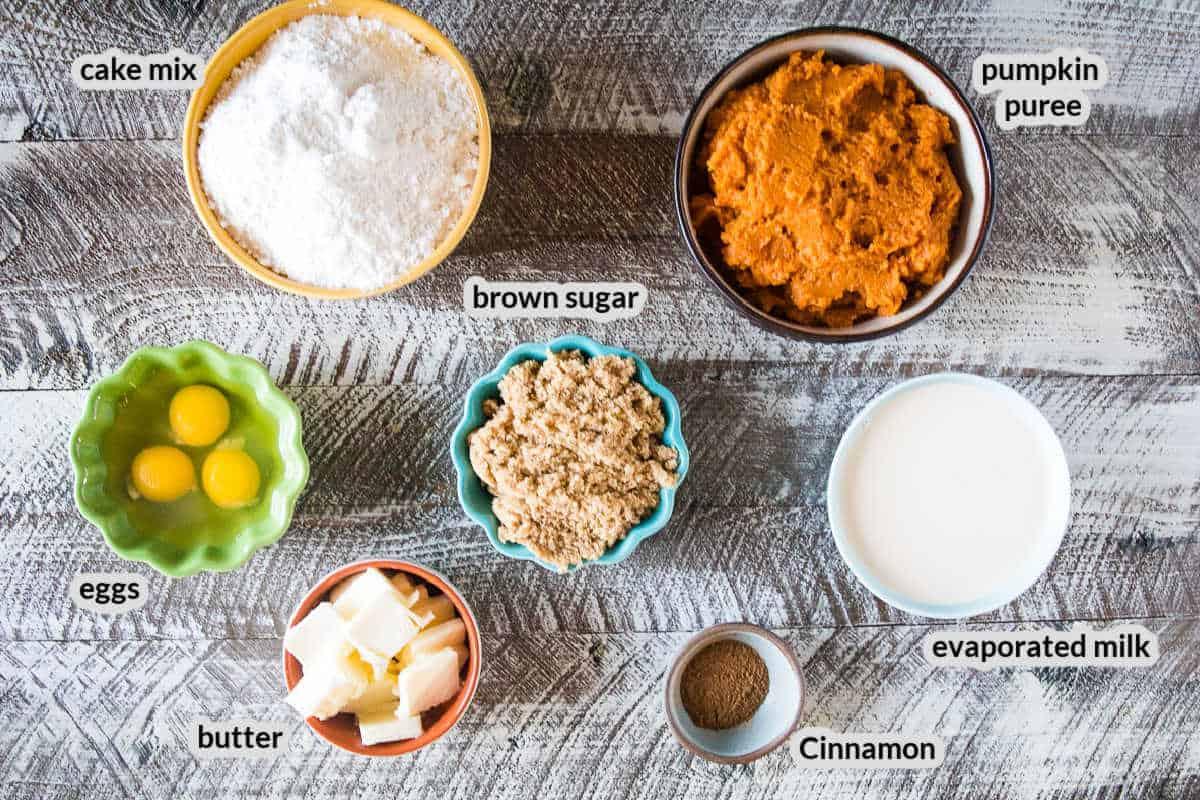 Overhead image of Smoked Pumpkin Dump Cake Ingredients