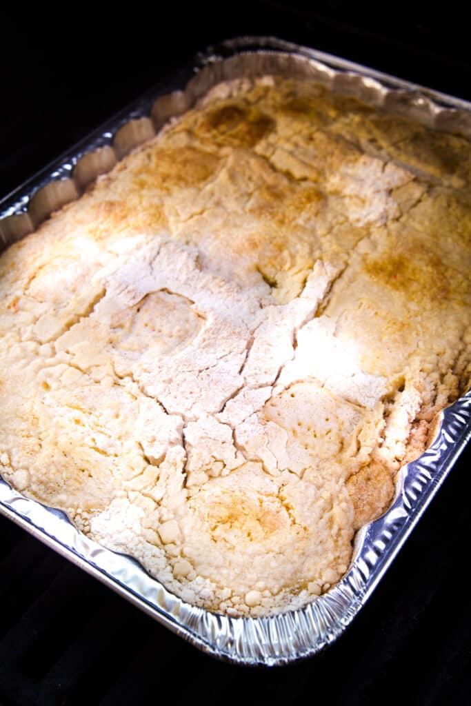 Pumpkin Dump Cake being smoked on Traeger