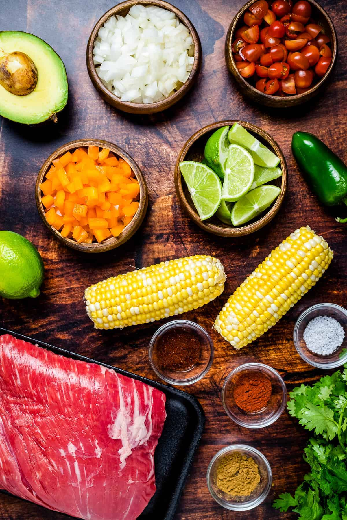Overhead Image of Flank Steak with Corn Salsa Ingredients