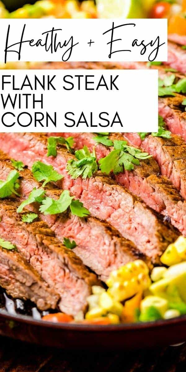 Grilled Flank Steak with Corn Salsa looks impressive, but is easy enough for a weeknight meal. Packed with flavor and healthy! Juicy, tender flank steak topped with a homemade corn salsa.  via @gimmesomegrilling