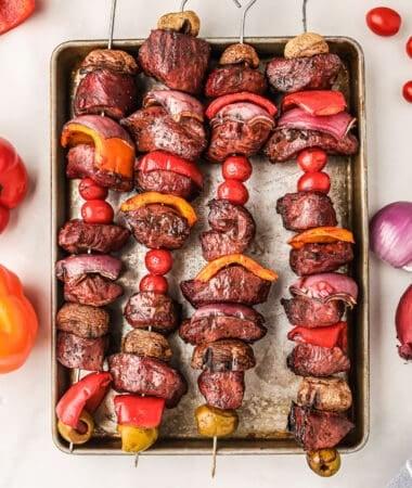 Smoked Steak Kabobs on baking sheet