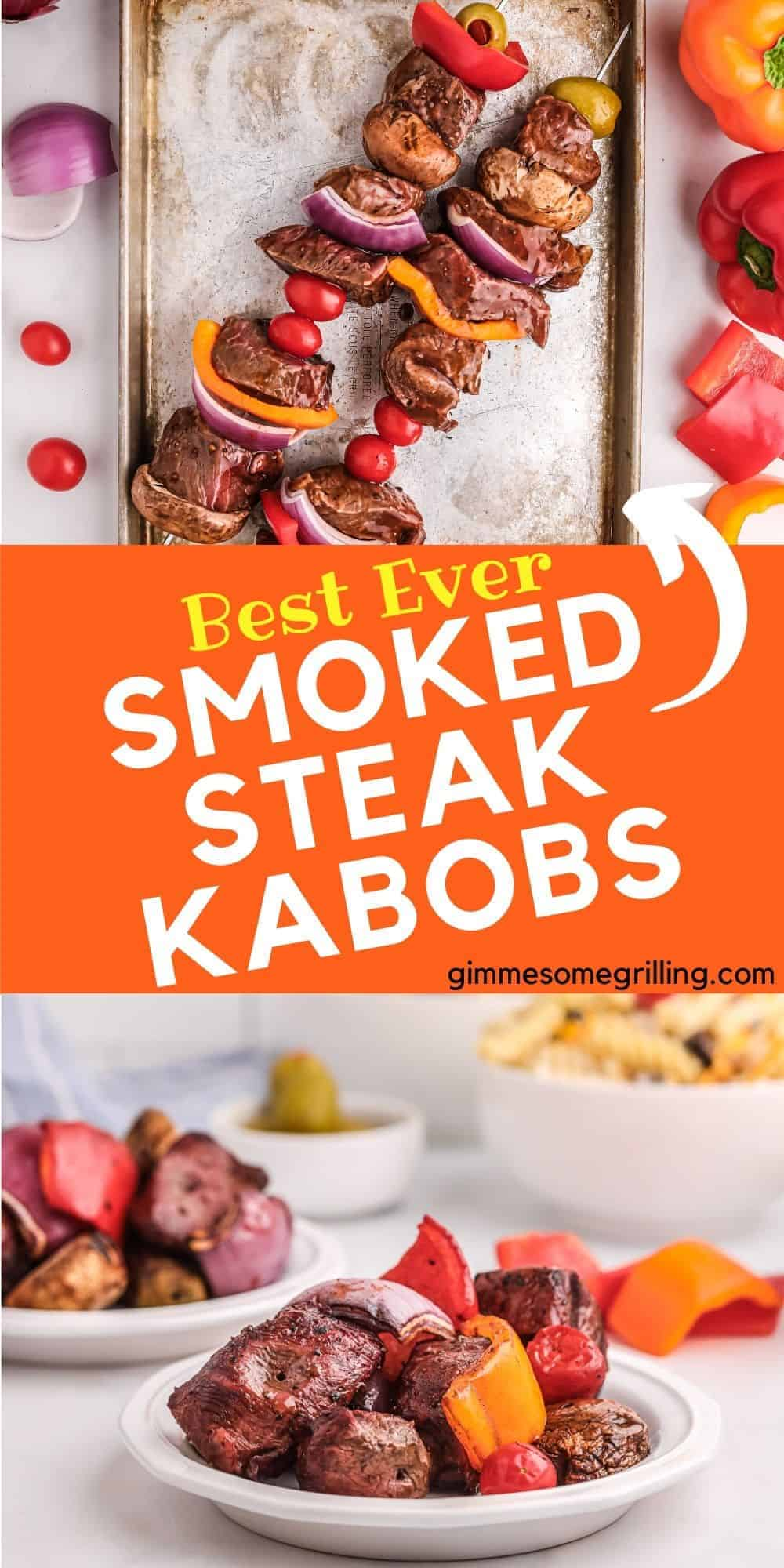 Marinated pieces of Sirloin Steak, red onion, cherry tomatoes, Spanish Olives, Portabella Mushrooms and bell peppers make these Smoked Steak Kabobs amazing! An easy and quick dinner recipe on your smoker. They are perfect for an easy dinner for your family or a great option for entertaining family and friends. via @gimmesomegrilling
