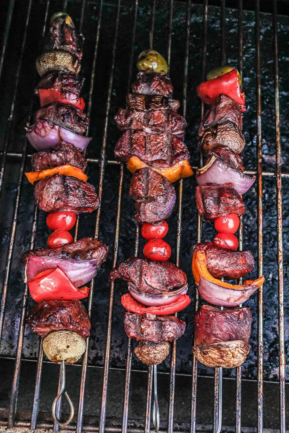 Traeger Steak Kabobs on a smoker
