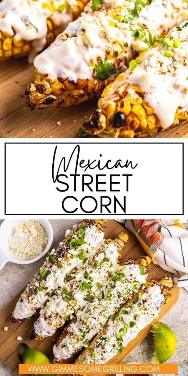 It's not summer with out this easy Mexican Street Corn, also known as Elotes, made right on your grill! Perfect charred corn on the cob topped with creamy sauce, Cotija Cheese and a dusting of chili powder. The perfect side dish for your next backyard party! via @gimmesomegrilling