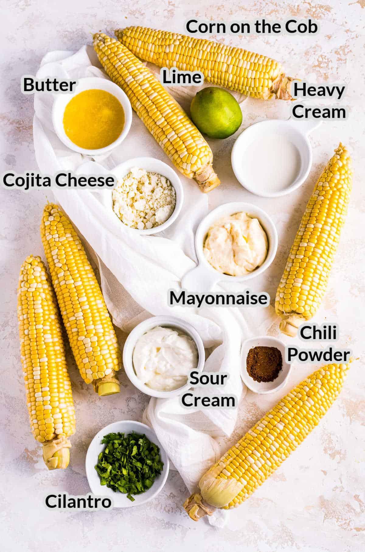 Overhead image of Mexican Street Corn Ingredients
