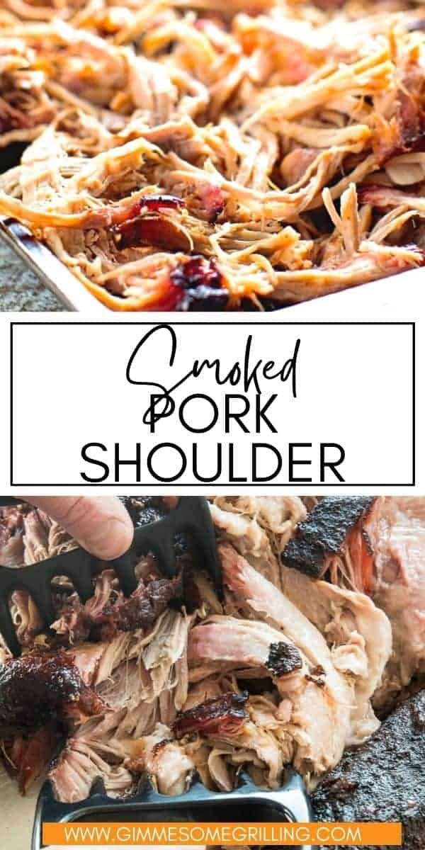 Smoked Pork Shoulder is so easy to make and bursting with flavor from our homemade rub. It is cooked low and slow on the smoker and the results has a delicious bark and is so tender. The perfect way to learn how to use a smoker.  via @gimmesomegrilling