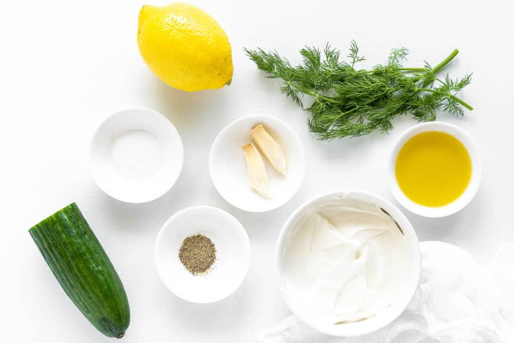 Overhead image of Tzatziki Sauce Ingredients