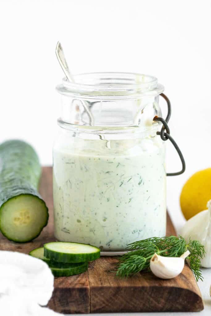 Glass Jar with Tzatziki Sauce