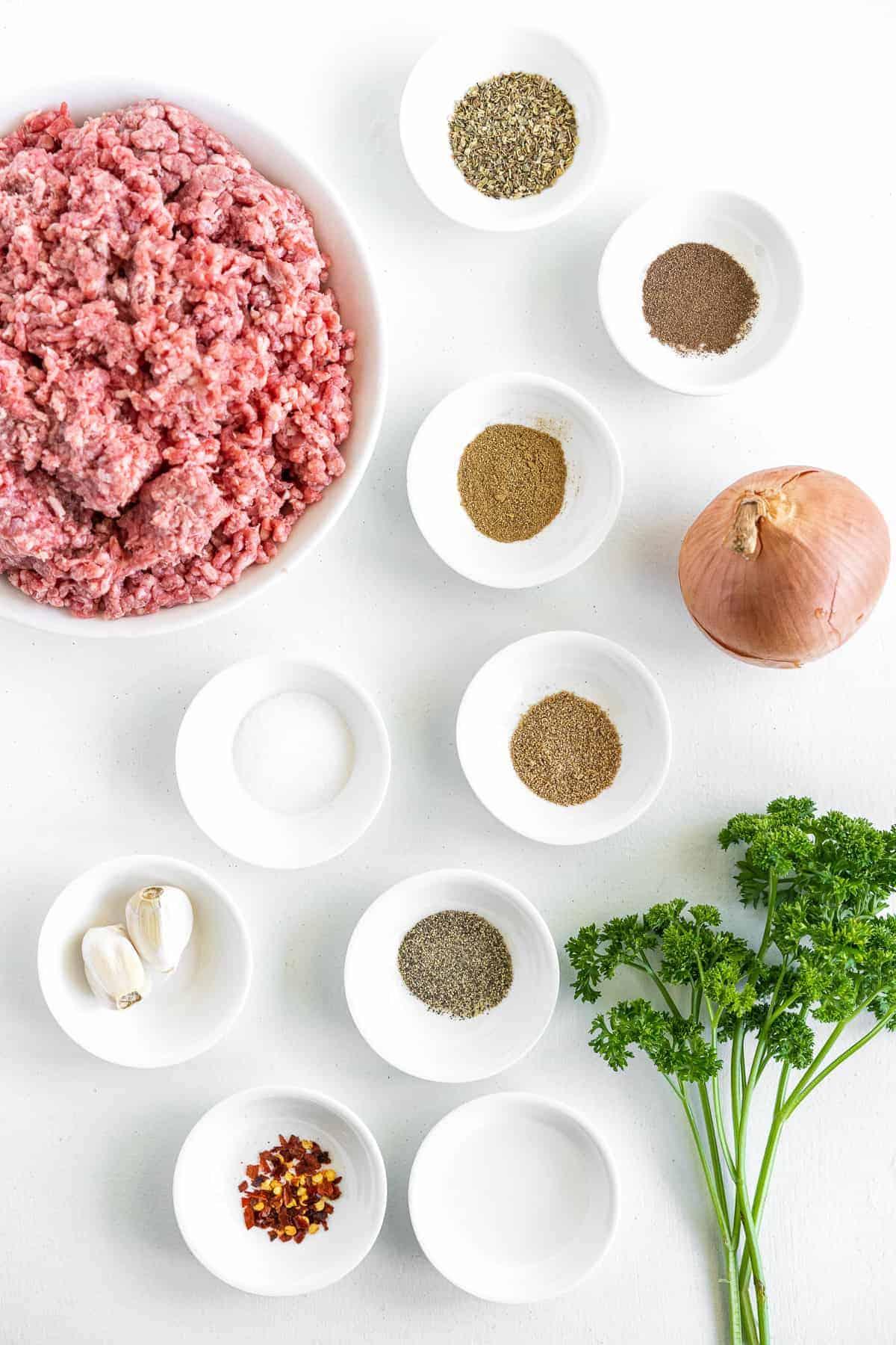 Overhead image of Greek Burgers Ingredients