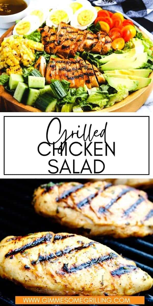 A delicious Grilled Chicken Salad that starts with a marinated, grilled chicken breast that's piled on a bed of lettuce, hard boiled eggs, tomatoes, grilled corn, cucumbers and avocados. This healthy, delicious salad is perfect for all your summer meals! via @gimmesomegrilling