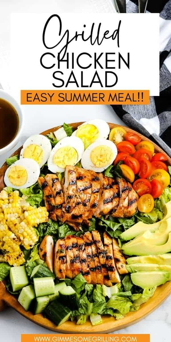 Grilled Chicken Salad is a delicious, light and healthy meal perfect for summer nights! A marinated chicken breast that is grilled to perfect piled on a bed of lettuce. Add your favorite toppings like tomatoes, avocado, eggs, corn plus your favorite salad dressing for an easy dinner on the grill. via @gimmesomegrilling