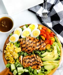 Grilled Chicken Salad on a brown platter