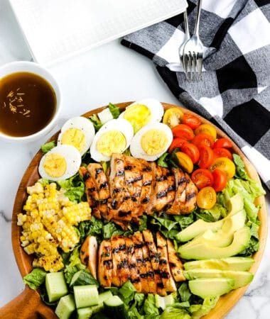 Grilled Chicken Salad on a brown platter