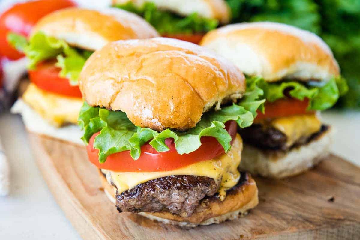 Blackston Smash Burgers on bun with toppings