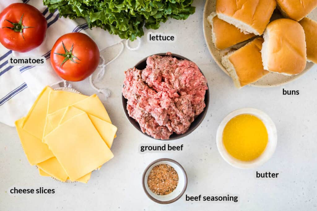 Overhead image of Smash Burgers Ingredients