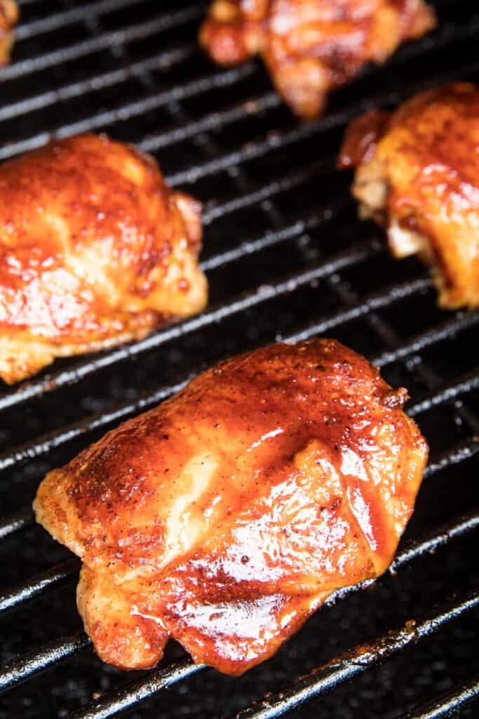 BBQ Smoked Chicken Thighs on smoker