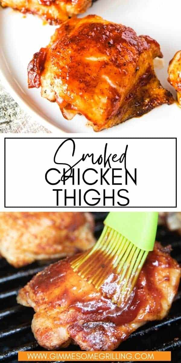 Tender, juicy and delicious Smoked Chicken Thighs start with a homemade rub, are smoked and then finished off with BBQ sauce. They make an easy dinner on your pellet grill that can't be beat! via @gimmesomegrilling